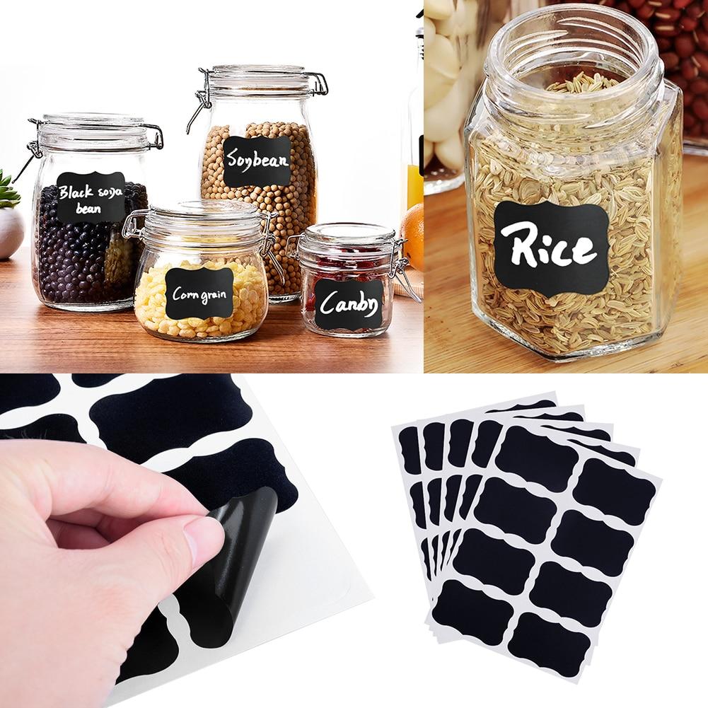 32pcs/4 sets Blackboard Spice Sticker Reusable Jam Labels Kitchen Stickers Organizer Chalkboard Label Wall home decor