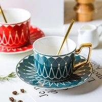 coffee mug gold handgrip espresso cups tazas canecas tasse ceramic tea teaware noble caffe saucer cafe cups and mugs 220ml