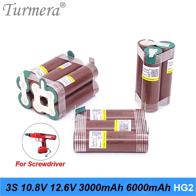 Turmera 3S 10,8 V 12,6 V 18650 HG2 3000mAh 6000mAh литиевая батарея 30A полоски для пайки для отвертки батареи Shurika Настройка