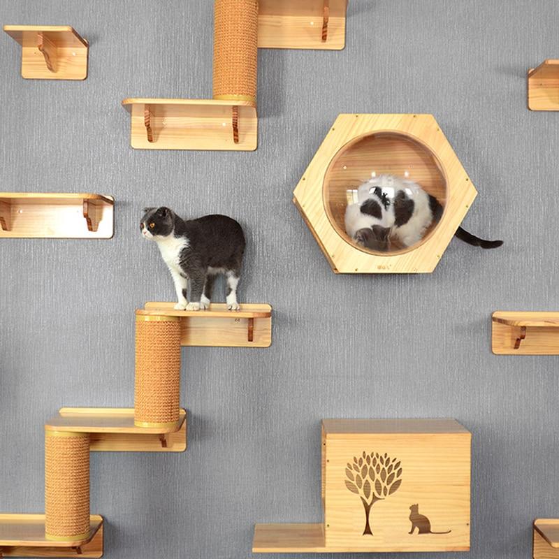 Gato montado en la pared Marco de escalada gato árbol de madera maciza hexagonal cabina gato pared trampolín muebles para mascotas
