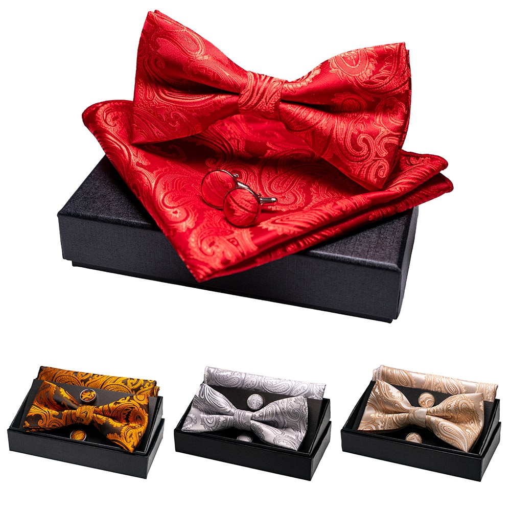 KAMBERFT Paisley Floral Mens Bow Tie 100%Silk Woven Butterfly BowTie Pocket Square Handkerchief Hanky Cufflinks Suit Set