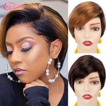 Pixie Cut Human Hair Wig Short Bob Straight Full Machine Made Ombre Blonde Burgundy Wigs Cheap Human Hair wigs For Black Women