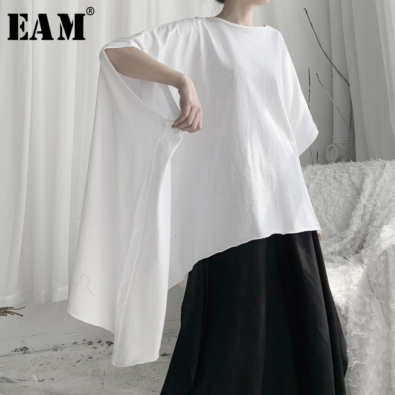 [EAM] Camiseta Grande asimétrica blanca de talla grande para mujer, nueva camiseta de cuello redondo, Media manga, moda, primavera otoño 2020, 19A-a644