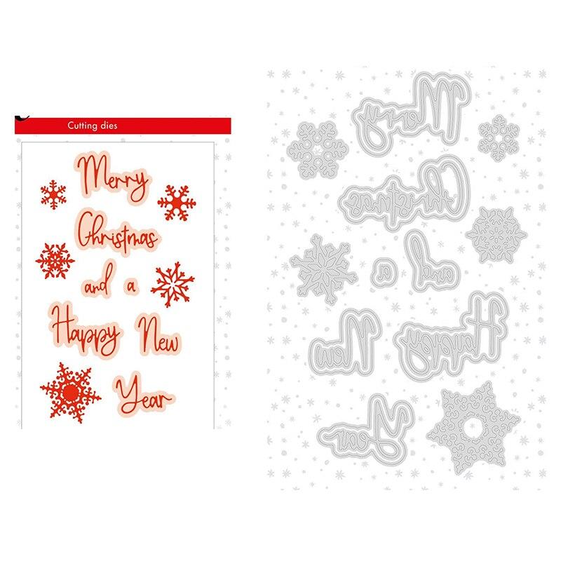 Счастливого Рождества, металлические Вырубные штампы, Скрапбукинг для изготовления открыток, металлические формы, алфавит, вырубки, тиснен...