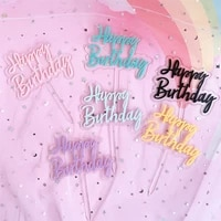multicolor transparency happy birthday cupcake toppers cake topper inserts for baby shower birthday party decorations supplies