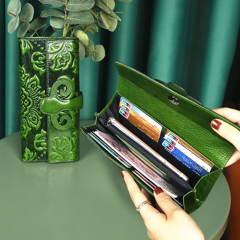 Women's Rfid Wallet 100% Leather Clutch Bag Retro Designer Embossed Flowers Long Phone Card Holder Women Luxury Green Flip Purse
