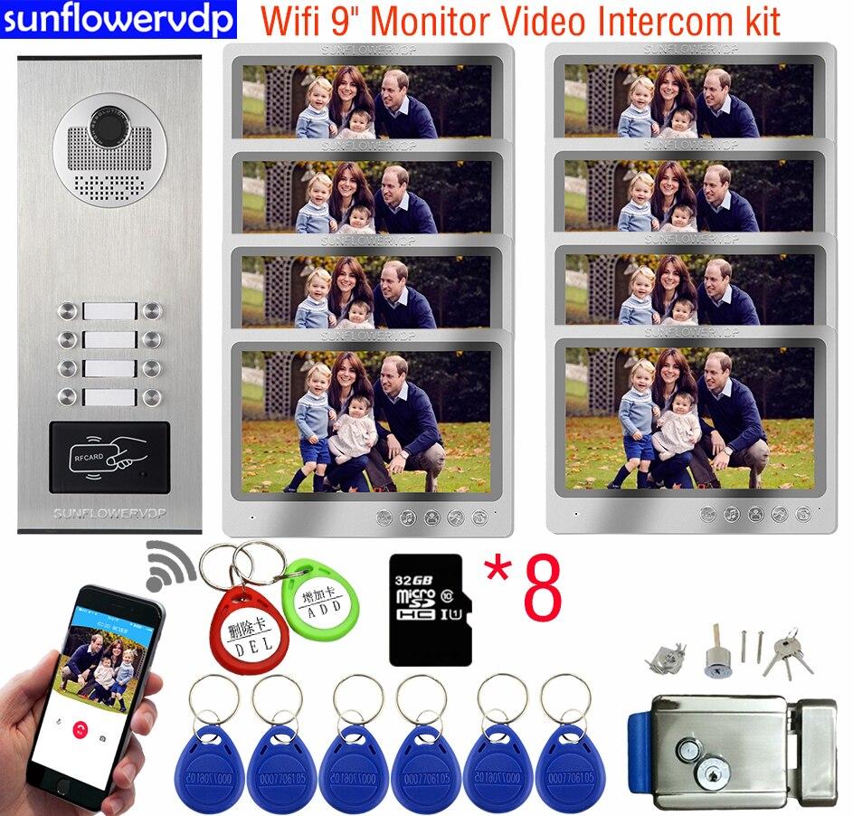 9 بوصة واي فاي 32GB Intercoms ل 82 شقق فيديو إنترفون انتركوم لمنزل خاص مع قفل تليفون باب بفيديو شاشات