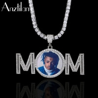Anztilam Hip Hop Custom Made Photo Pendant Custom Name Necklace Paved Zircon Stone Men Women DIY Jewelry Wholesale