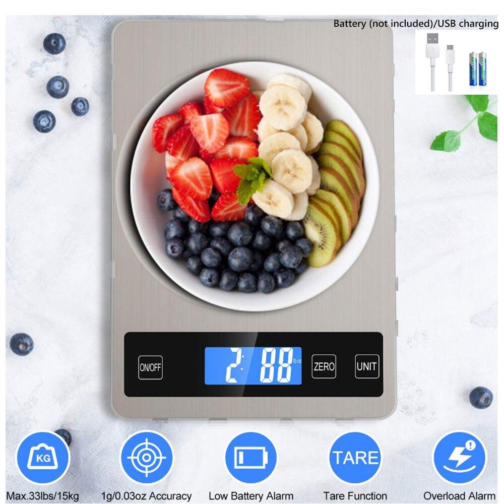مقياس المطبخ الرقمي شاشة الكريستال السائل 1 جرام/15 كجم متعددة الوظائف الرقمية ميزان طعام للمطبخ الطبخ الخبز مقياس ميزان الإلكترونية