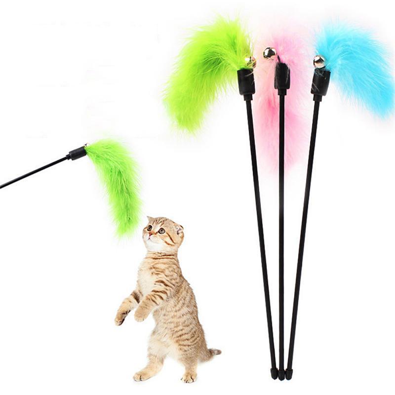 Varita de Teaser para gatos, varita interactiva para mascotas, varita de alambre, pluma colorida para gatos, colores al azar