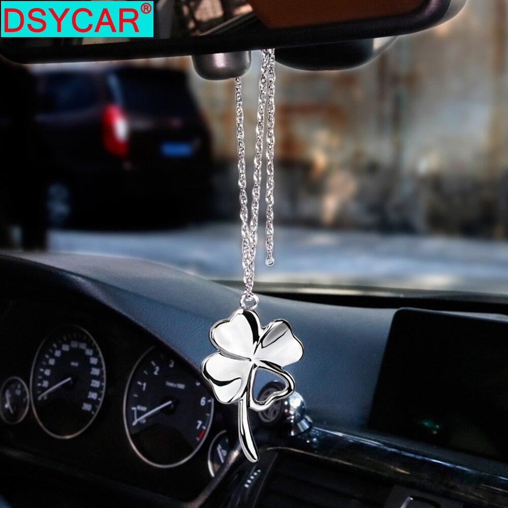DSYCAR, colgante de coche, tréboles de la suerte de Metal, decoración de espejo retrovisor para coche, colgante, decoración de automóvil, adornos de suspensión