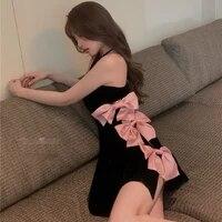 sexy bow tie dress ladies 2021 summer one shoulder slim a line mini velvet dress korean sweet designer punk carnival dress new