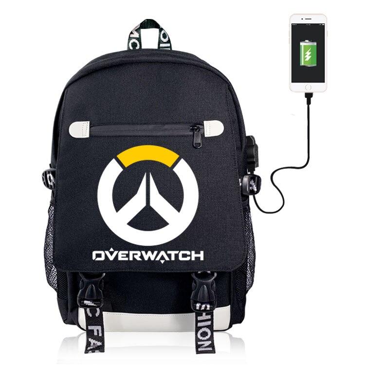 OW Deadpool Fairy Tail Death Note Cosplay mochila de lona Puerto USB Teentage Laptop viaje mochila escolar bolso de hombro