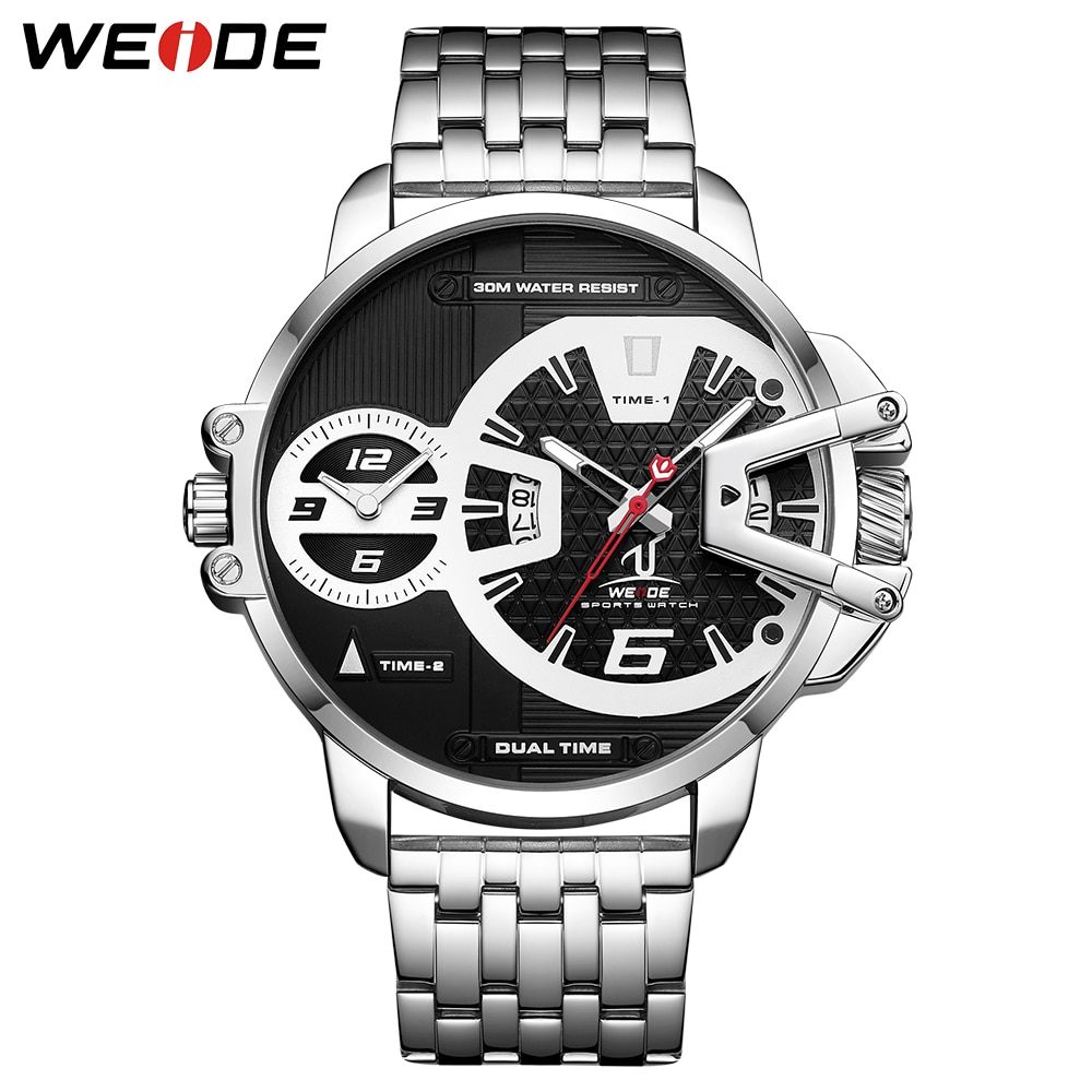 WEIDE Mens Sports Army Stainless Steel Belt Auto Date Quartz Movement Two Time Dials Analog Male Wrist Watches Relogio Masculino weide mens quartz movement analog military army digital stainless steel wrist watch relogio masculino women watch gift