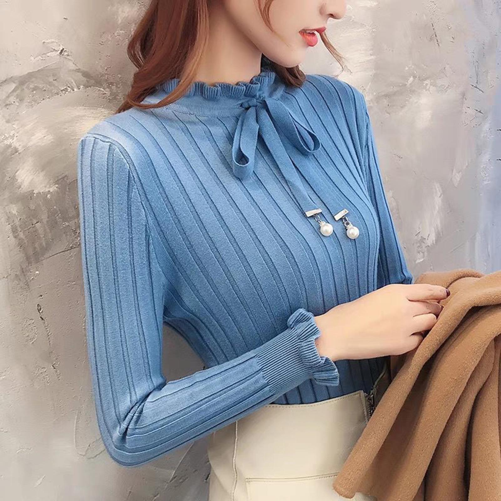 Женский трикотажный пуловер с длинным рукавом и оборками