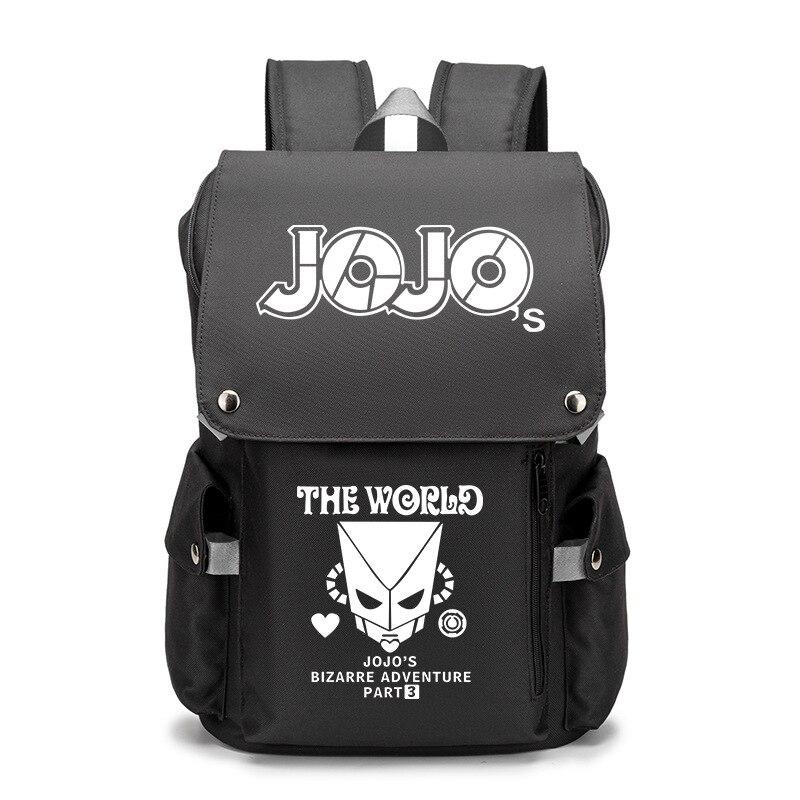 JO JO Adventure USB Port حقيبة كتب على ظهره سستة حقيبة الظهر أنيمي طالب مدرسة حقيبة حاسوب السفر Mochila