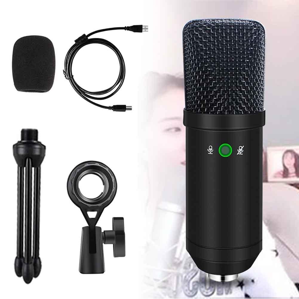 Micrófono condensador portátil, profesional, de poco ruido, para estudio de computadora móvil, aleación de aluminio, para chatear en línea, cantar, con cable USB