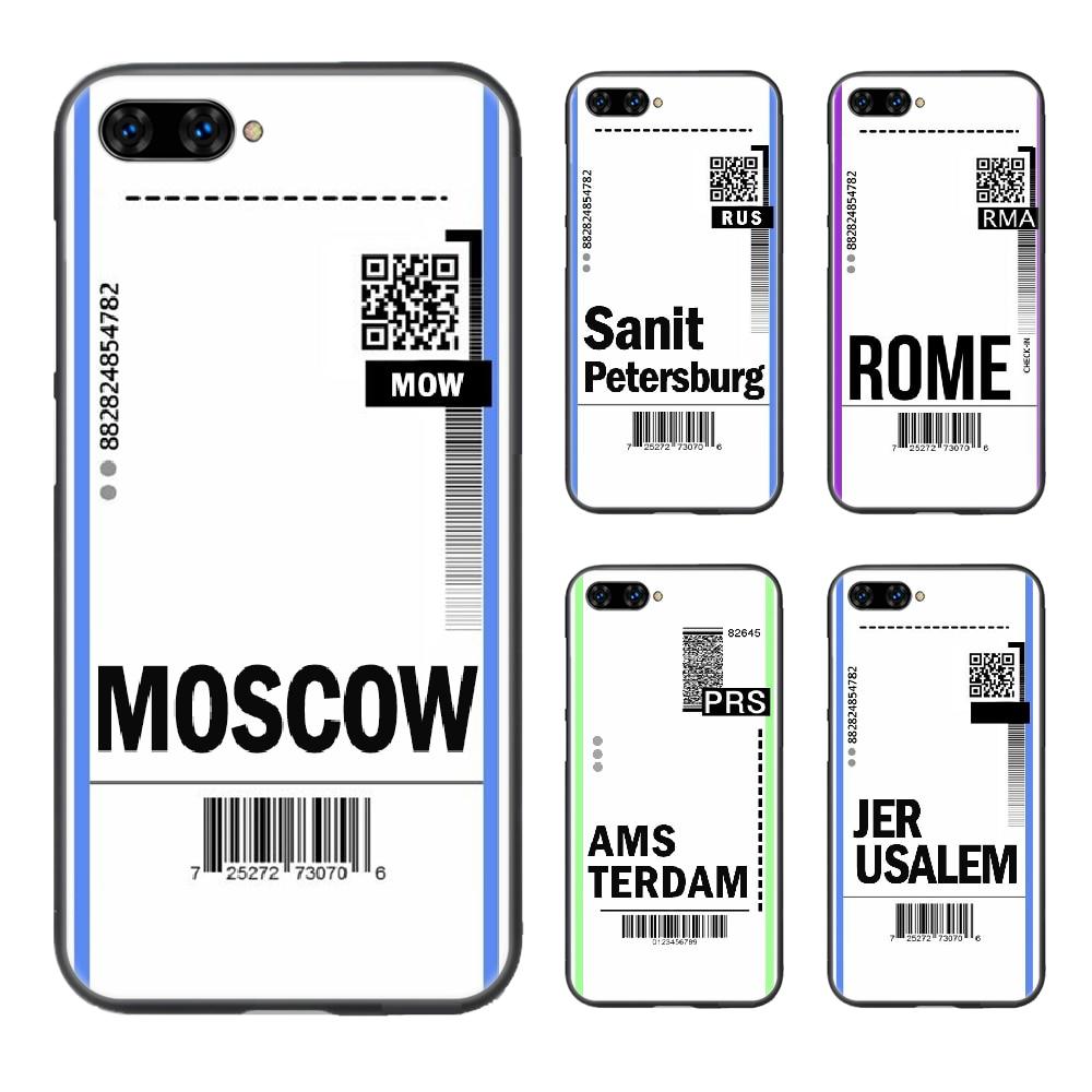Etiqueta del boleto de INS cubierta del teléfono de Moscú casco para HUAWEI honor 8 8c 8a 8x9 9a 9x V10 MATE 10 20 I lite pro negro Etui pretty