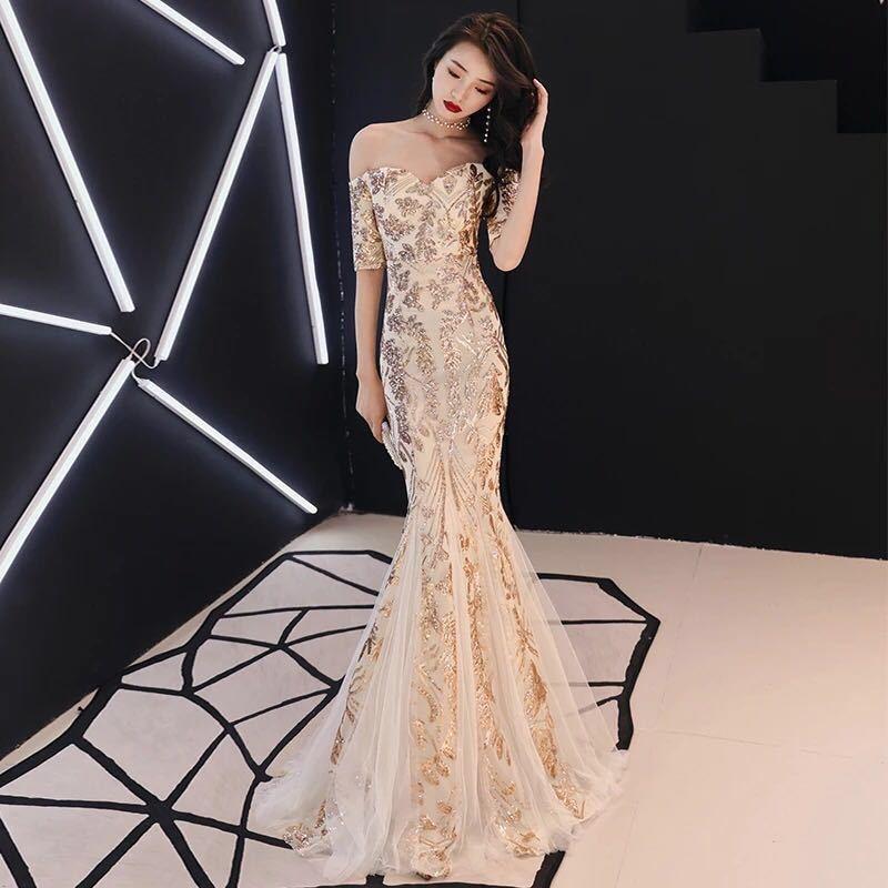 Moda altın Sequins uzun akşam elbise bayan dantel elbiseleri parti elbisesi kız çin tarzı oryantal gelinlik Qipao Cheongsam