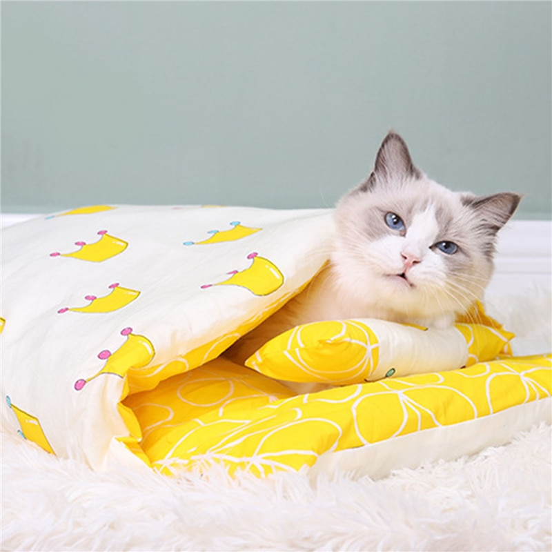 Removable Dog Cat Bed Cat Sleeping Bag Sofas Mat Winter Warm Cat House Small Pet Bed Puppy Kennel Nest Cushion Pet Products