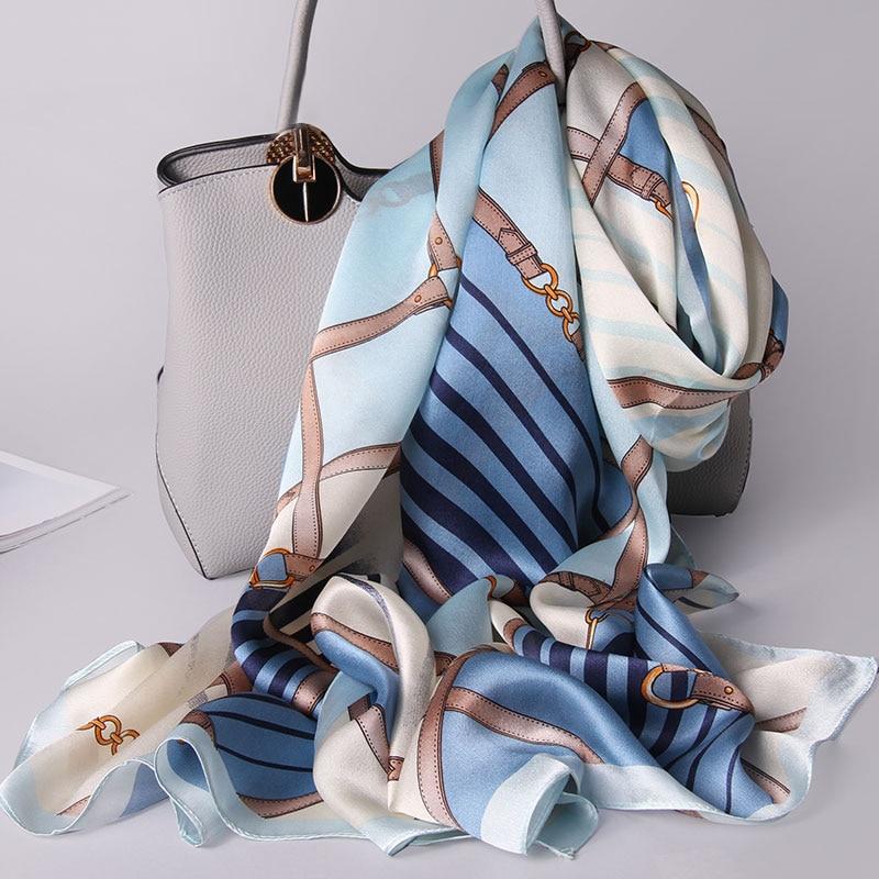100% Silk Scarf Women Brand 2021 Hangzhou Silk Shawls and Wraps for Ladies Printed Foulard Natural P