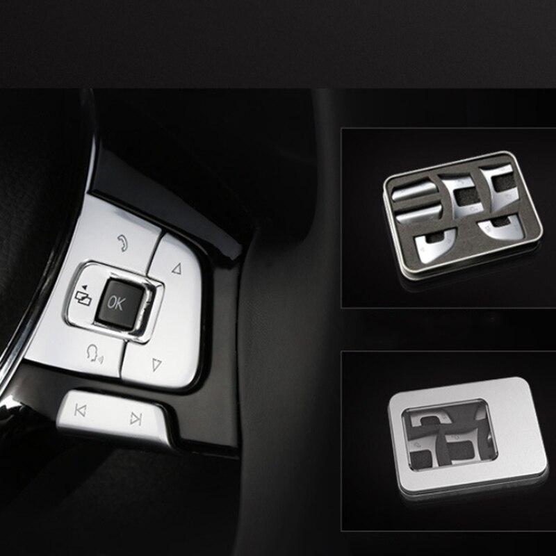 6Pcs Car Steering Wheel Button Knob Trim Cover Sticker for Passat B7 B8 JETTA Tiguan GOLF MK7 Automotive Interior Trim