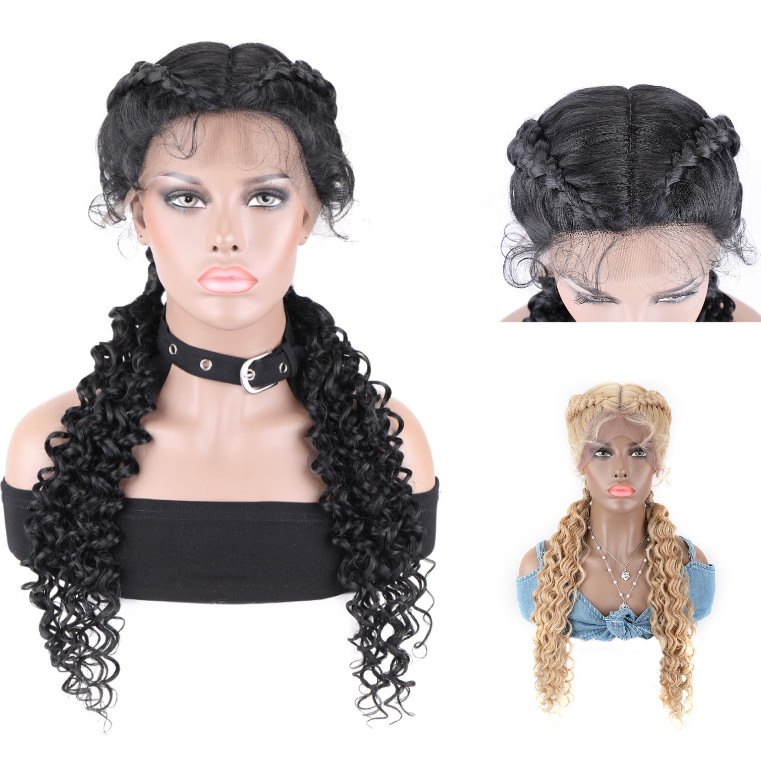 Baiding Hair Lace Front Synthetic Wig Corchet Curly TOOCCI Braided Synthetic Wig Deep Wave 2 Braids For Afircan Black Women