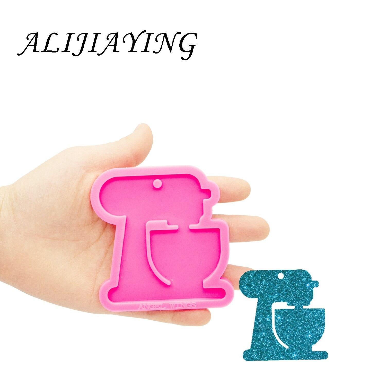 Molde de llavero de resina epoxi, máquina de coser brillante, colgante DIY para collar, joyería, molde de silicona DY0445