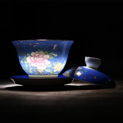 China Jingdezhen ceramic bowl tea pot hand-painted flower cup size gradient grilled tureen gaiwan teaset teapot ceremony