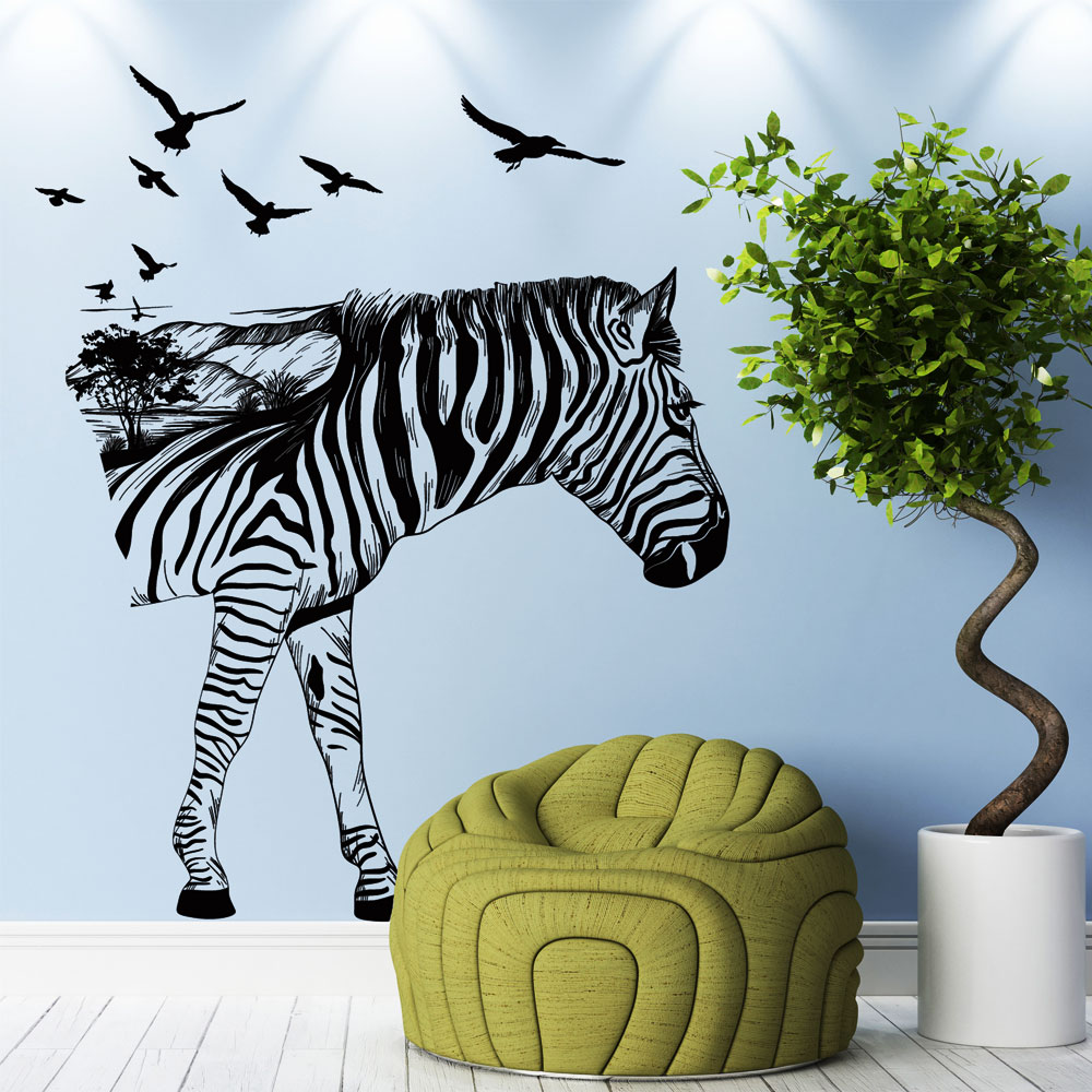 Zebra Wall Decals Removable Wall Decor Decorative Painting Supplies & Wall Treatments Stickers for Girls Kids Living Room
