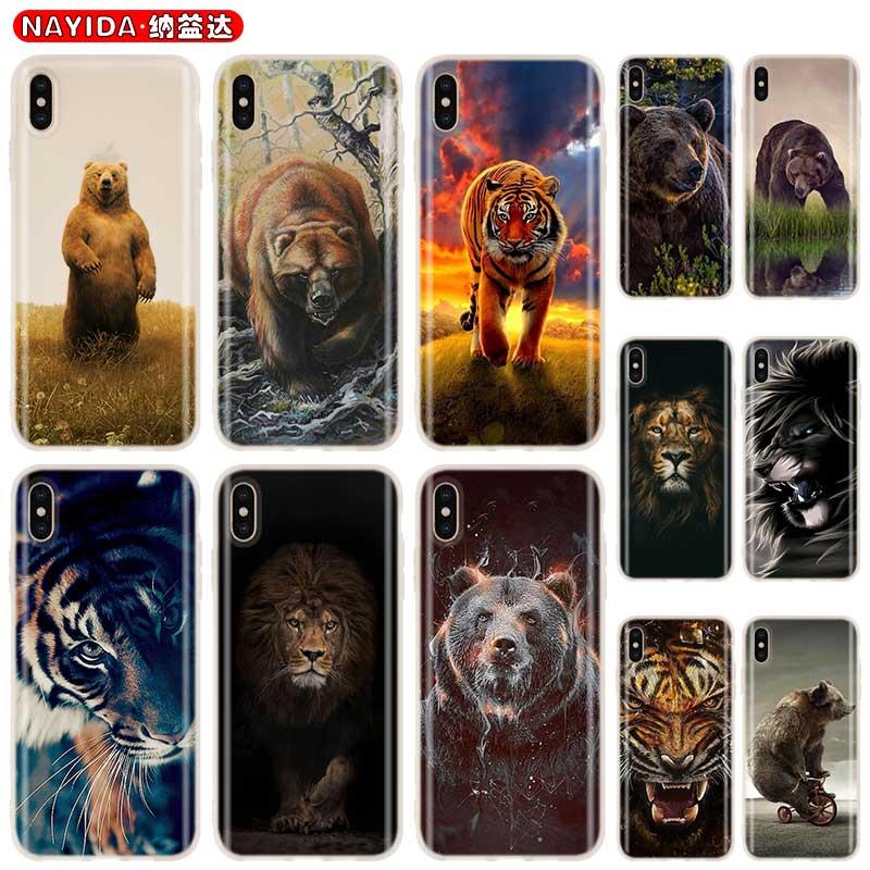 Baseus claro caso de la cubierta para iPhone 11 Pro X XR XS Max 8 7 6s 6 Plus 5 5s SE 4s Funda Coque de silicona suave estuche oso tigre león