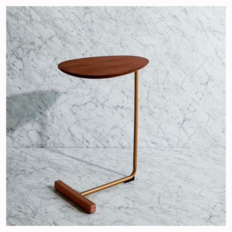 Simple Modern Side Table Iron Art Sofa Corner Table Lazy Bedside Reading Oval Coffee Table Tea Solid Wood Countertop