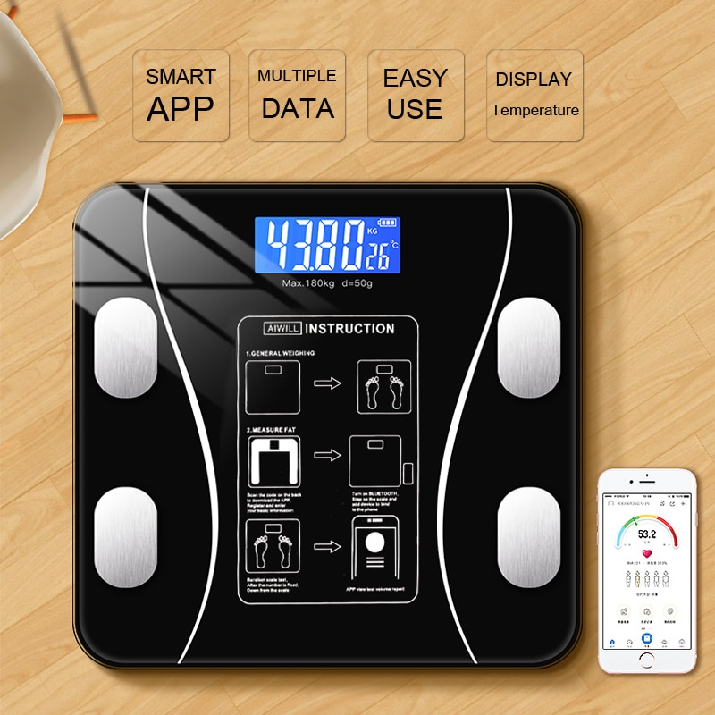 Bluetooth Body Fat Scale BMI Scales Smart Wireless Digital Bathroom Weight Scale Body Composition An