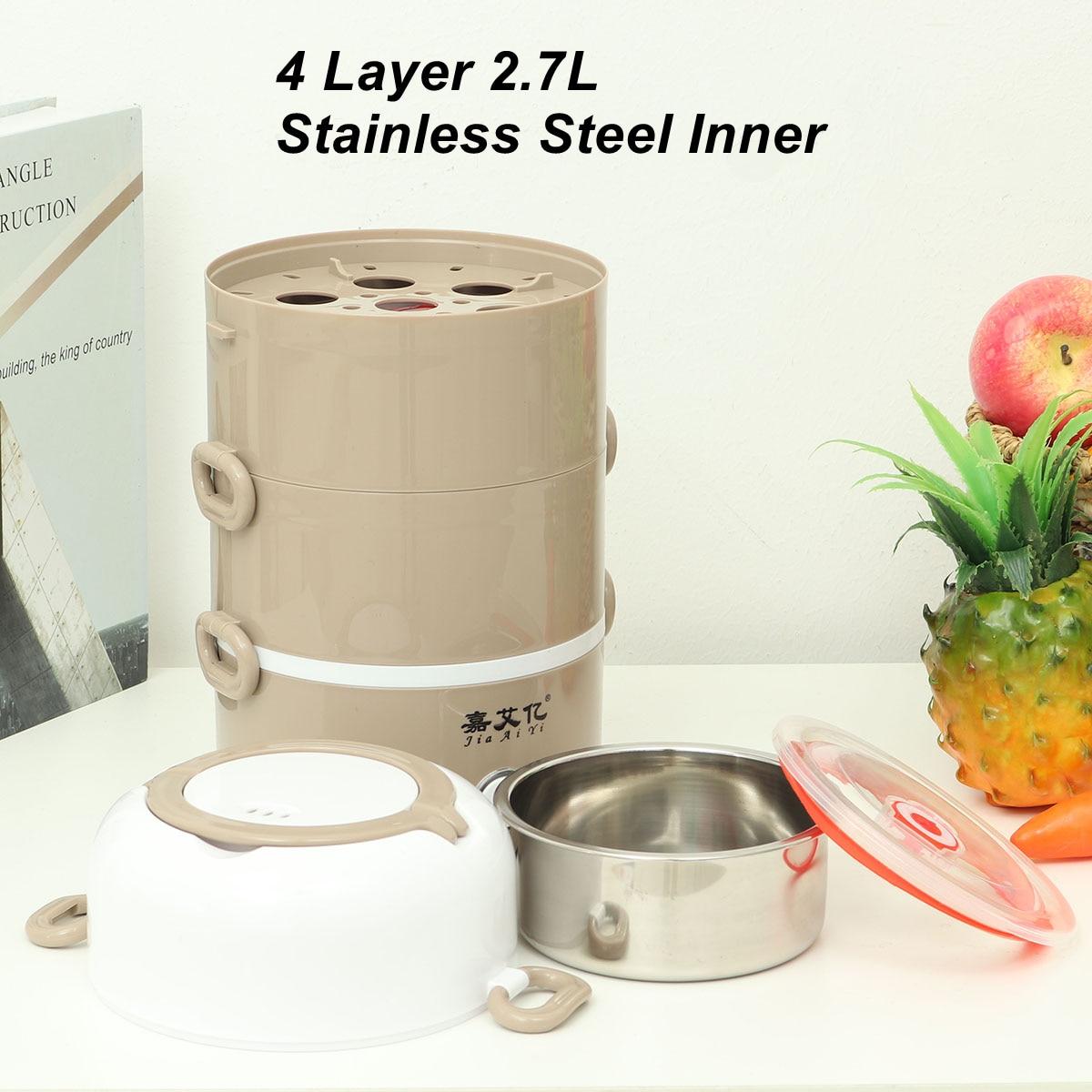 2.7L 220 فولت صندوق غداء كهربي ستانلس ستيل محمول جهاز طهي الأرز عبوات طعام حافظة للحرارة باخرة مكتب طالب بينتو صندوق 4 طبقة