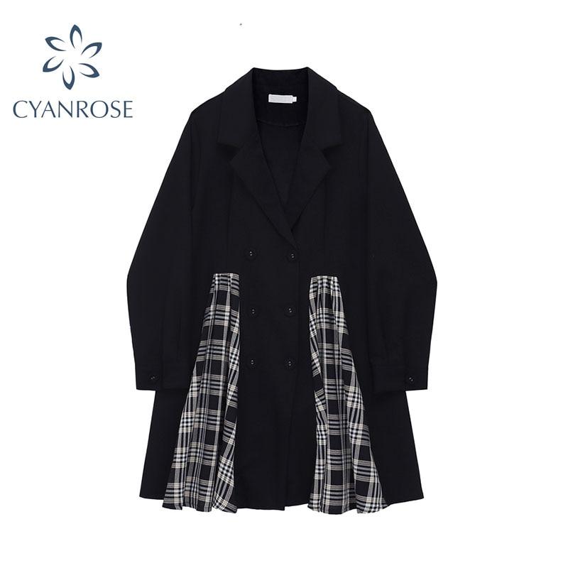 Vintage Double Breasted Blazer Dress Women Long Sleeve 2020 Autumn Winter Korean Elegant Casual Plai