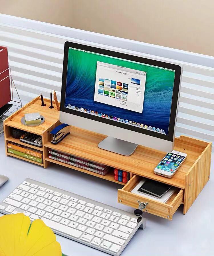 Компьютерная подставка для монитора, базовая коробка для хранения, офисные принадлежности, настольная коробка для хранения, папка, клавиатура, домашний офис, отделочный стол