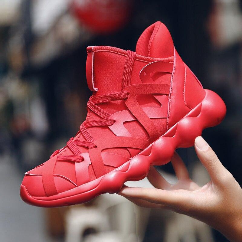 2019 novo casal hip hop sapatos de basquete dos homens alta superior esportes tênis de basquete meias zapatillas basquetbol cesta homme