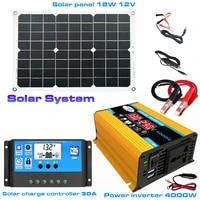 solar power generation system dual usb 18w solar panel4000w power inverter30a solar charge controller solar system set