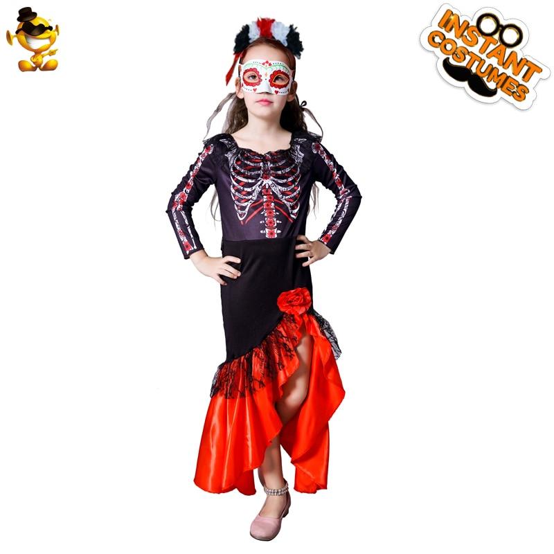 Купить с кэшбэком Halloween Boy Girl Evil Skeleton Costume Purim Party Cosplay Children's Devil Clown Clothes Halloween Kids Costumes Fancy Dress