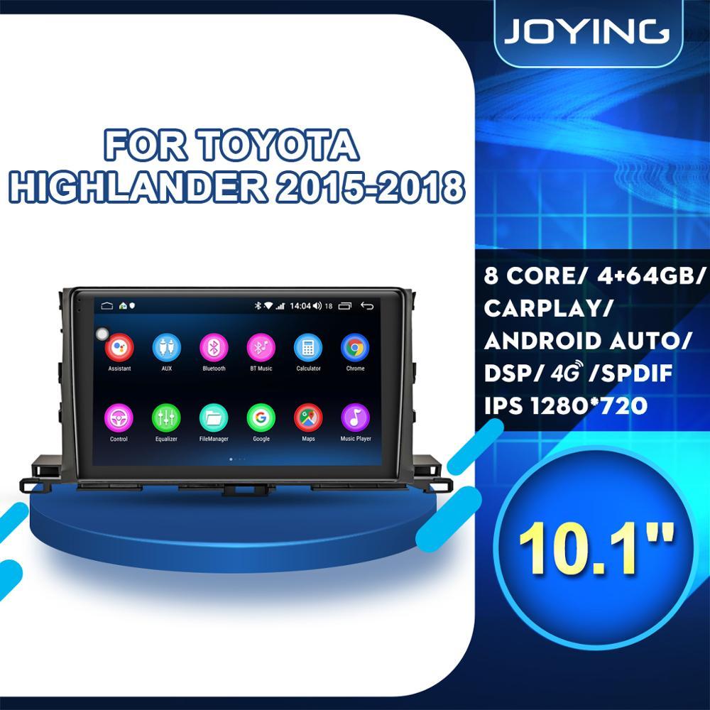 """10,1 """"Android 8,1 Radio de coche estéreo unidad principal 4GB + 64GB para Toyota Highlander 2014-2018 GPS para coche reproductor de navegación Multimedia BT FM"""
