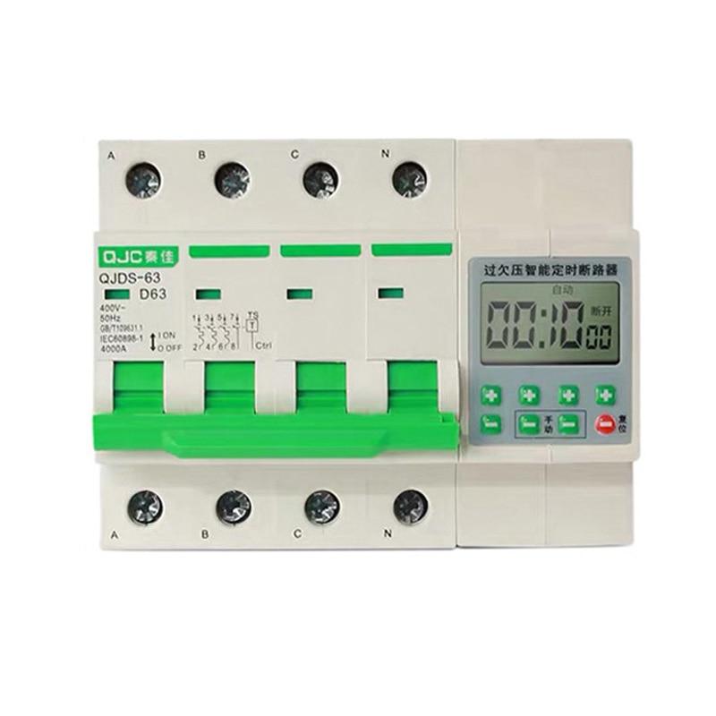 00:01-99:00 3 المرحلة 4 سلك LCD 380 فولت 32A ، 63A الزائد حماية قطاع دارة مع وظيفة الموقت din نوع 380 فولت الموقت التبديل