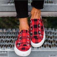 Femmes vulcanisé chaussures 2020 printemps femmes décontracté confortable chaussures plates femme sans lacet plate-forme dames treillis dames baskets
