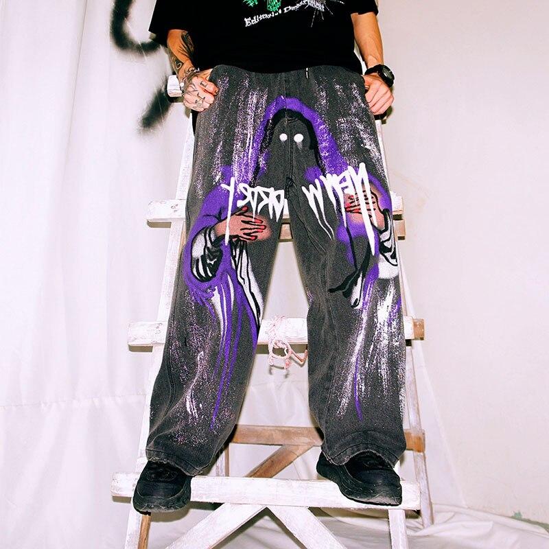 EWQ / men's wear 2020 spring summer loose straight jeans new graffiti vintage printing streetwear hip hop denim trousers 9Y2158
