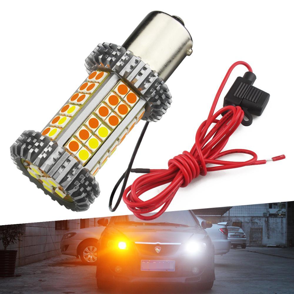 Canbus No Hyper Flash PY21W 7057 7440 3156 LED Switchback Blanco/ámbar T20 BAU15S 1156 doble Color intermitente luz bombillas DRL