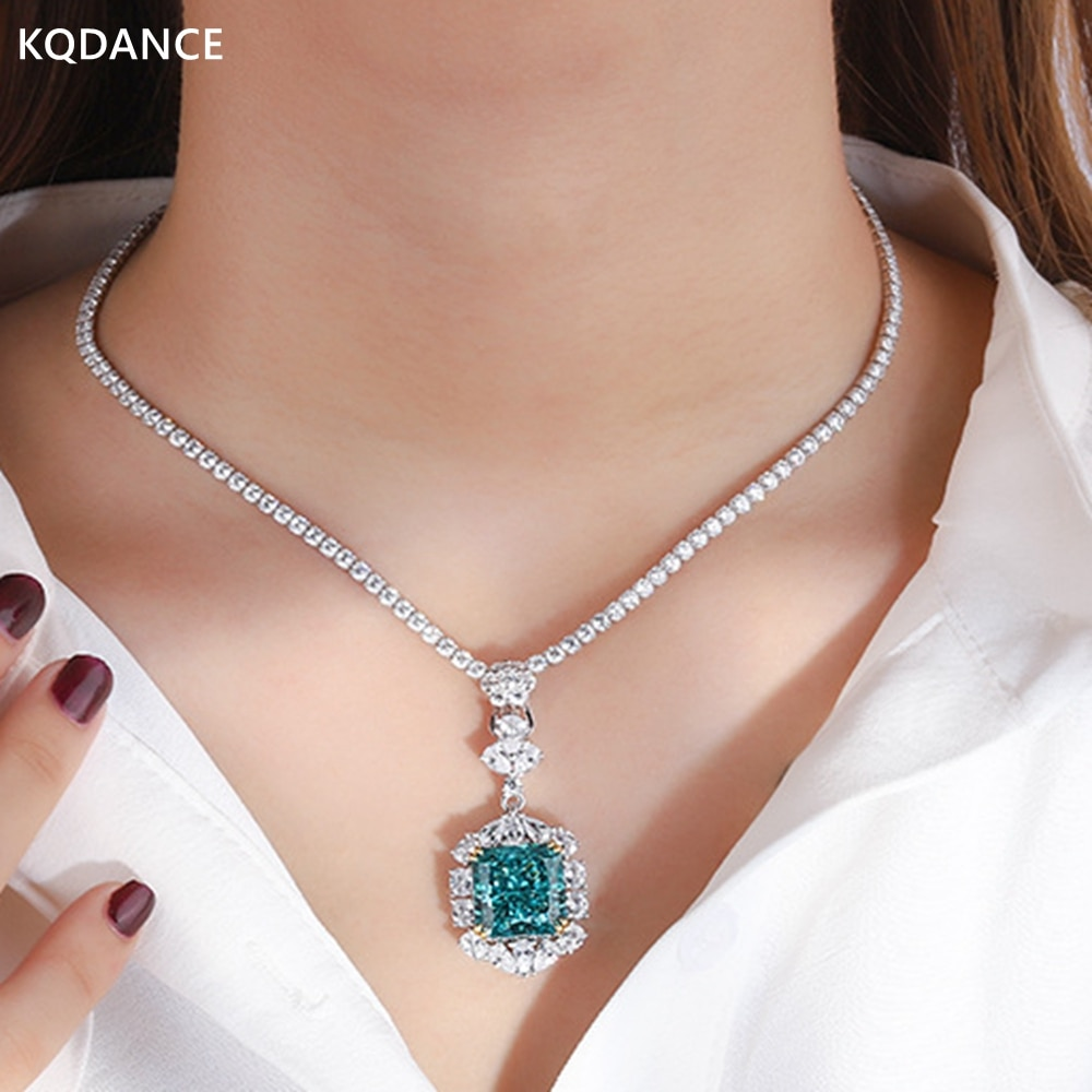 KQDANCE Solid 925 Silver emerald cut Lab tourmaline Big citrine Green blue Pendant diamonds chains Necklace Jewelry 2021 trend
