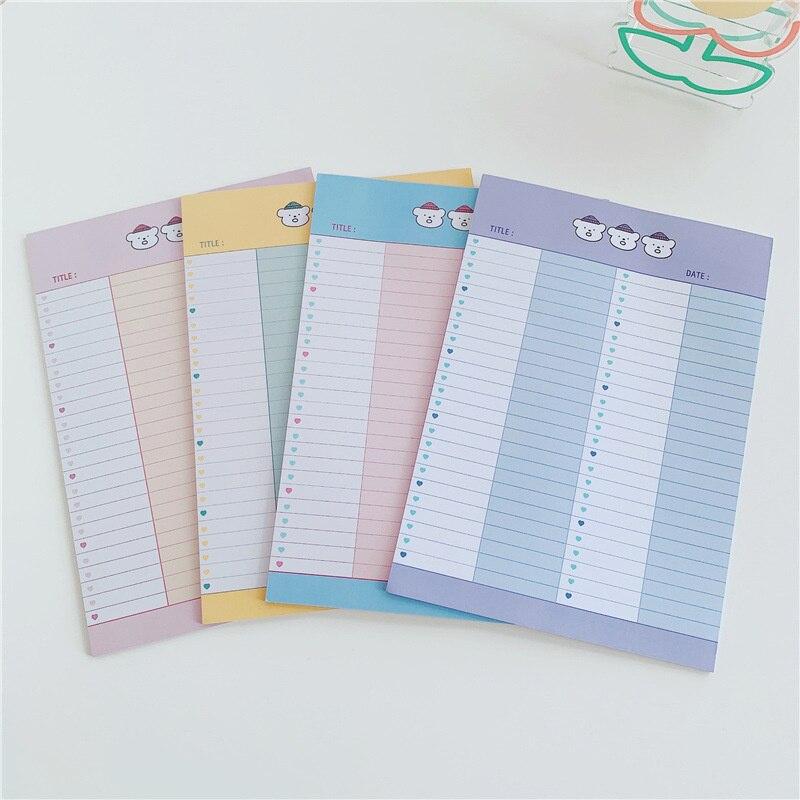 Мультяшный милый блокнот для заметок с тремя маленькими медведями, женская школьная канцелярия, ученический блокнот с буквами, 30 листов, B5, ...