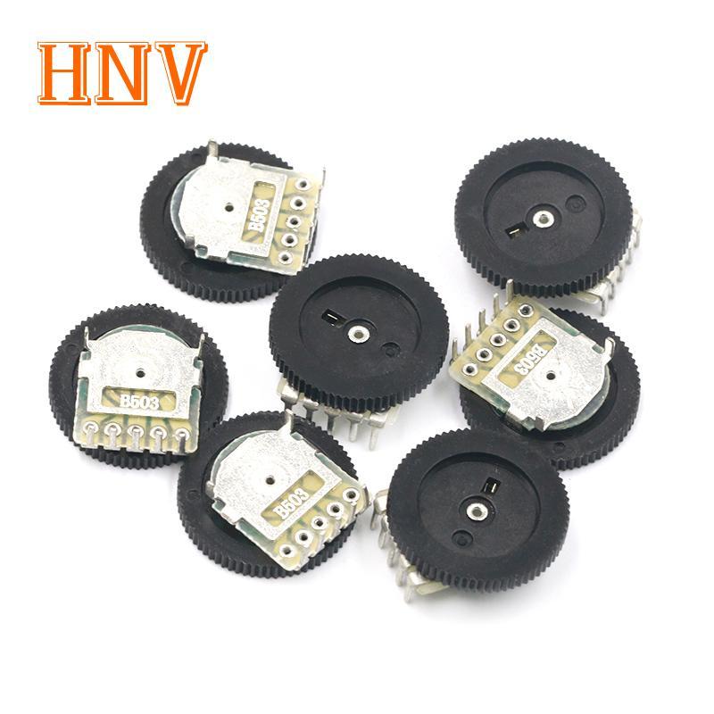 Potenciómetro de ajuste de engranaje doble B503, 50K, ohm, 5 pines, 16x2mm, potenciómetro de rueda de volumen cónico, 10 Uds.