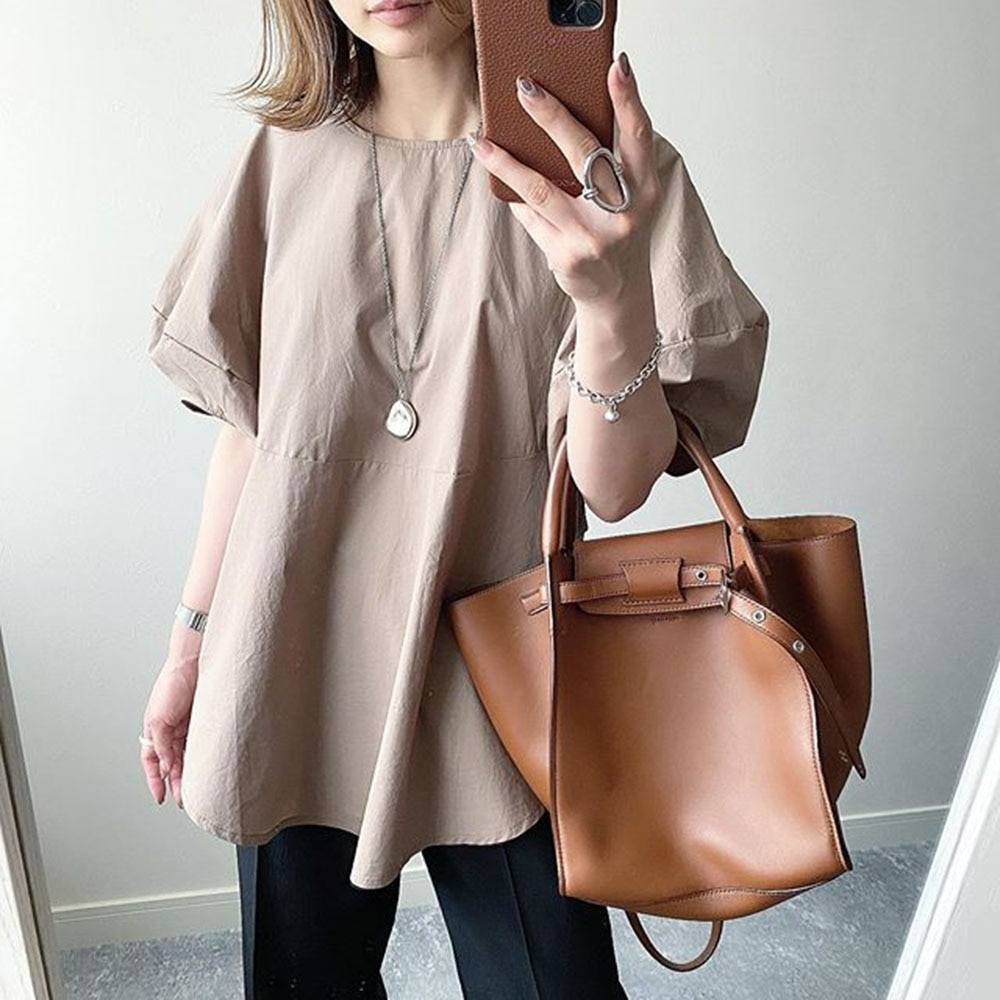 2021 Summer New Women's Blouse Lantern Sleeve Solid Color Temperament Commute Round Neck Summer Casual Korean Fashion