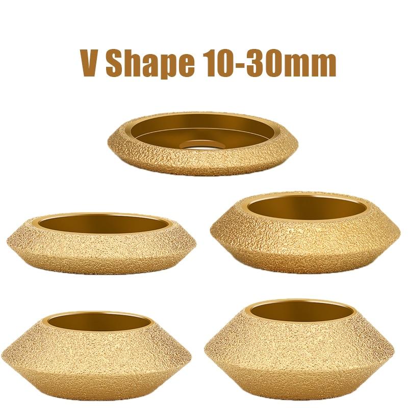Dia 3inch 75mm Bore 20mm V Shape Dry Vacuum Brazed Diamond Grinding Wheel Demi-bullnose Edge Marble Edging Profile Grinding Disc