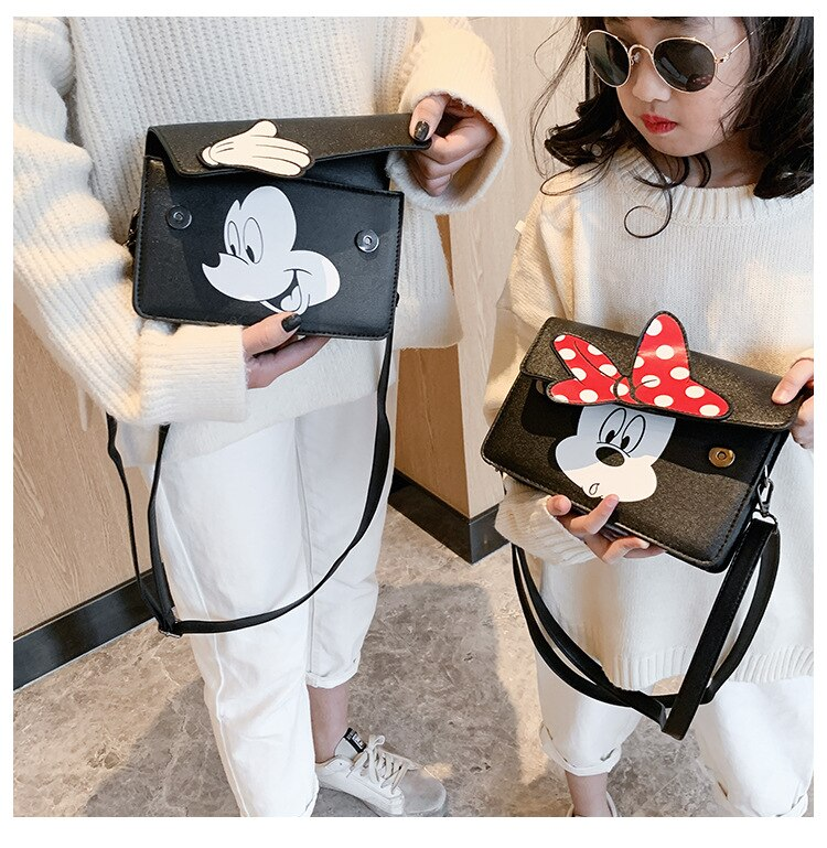 2020 Cartoon Mickey Minnie Handbag Women Shoulder Crossbody Bag Pu Leather Kids Small Storage Bag Cute Women Bag Waterproof Tote
